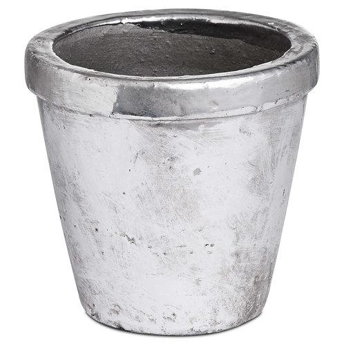 Metallic Ceramic Rimmed Plant Pot