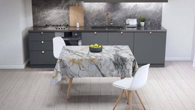 Marble Decor Marble Tablecloth Rectangle Kitchen