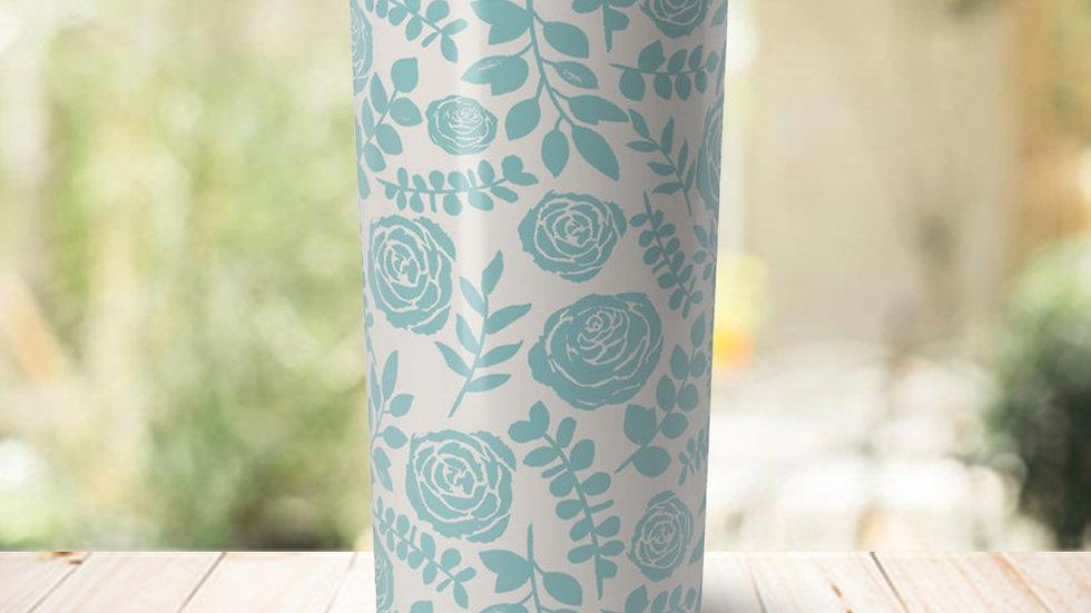 Baby Blue Floral Travel Coffee Mug