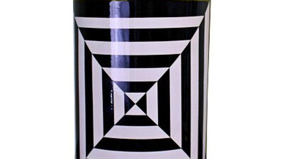 Black/White/Gold Ceramic Lidded Vase, Geometric Design