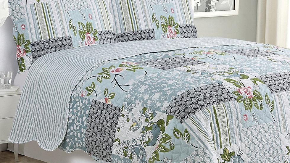 Kim - 3 Piece Quilt Set - Silver Bird Floral