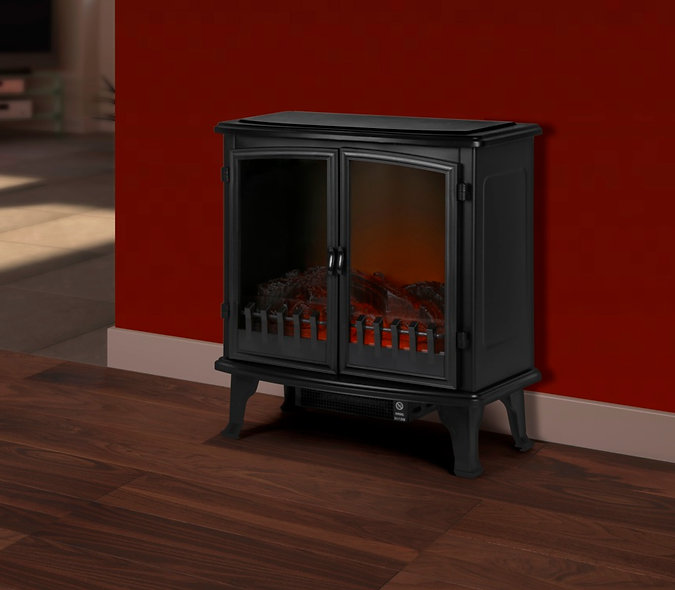 SupaWarm Free Standing Electric Fire With 2 Door & Log installed