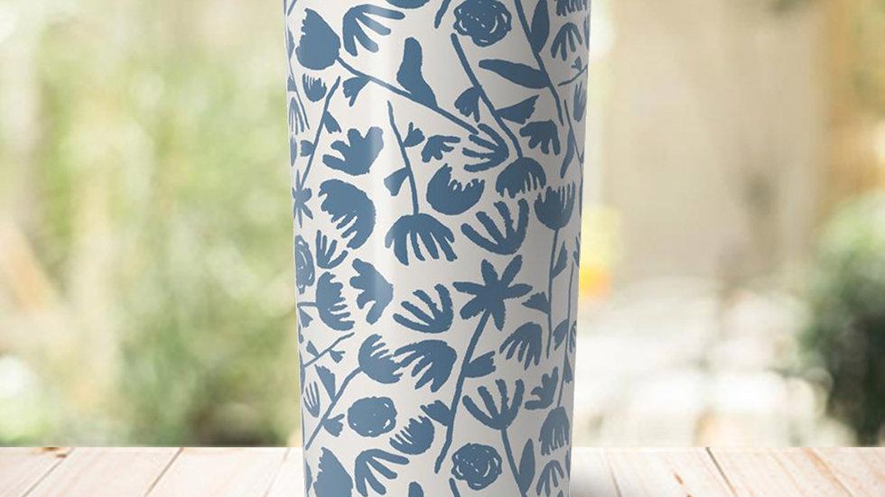 Light Blue Floral Travel Coffee Mug