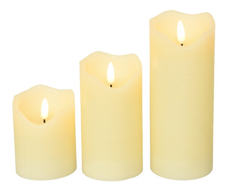 LED Wax style Wick Candle Rustic - Set of 3