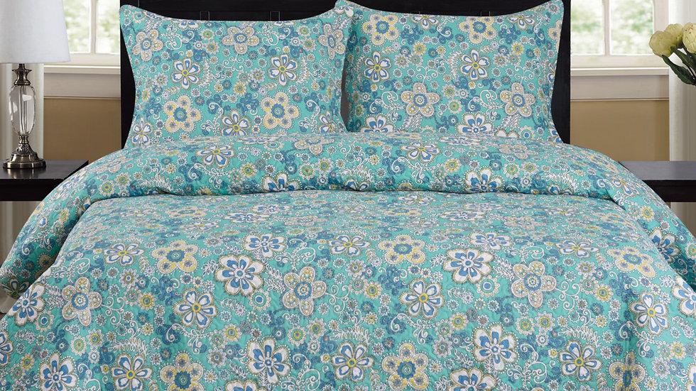 Cynthia - 3 Piece Quilt Set - Turquoise