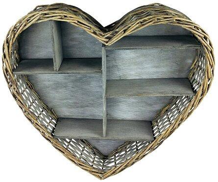 Wicker Heart Shelf Unit - 52cm
