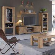 Rapallo TV cabinet in Chestnut and Matera Grey