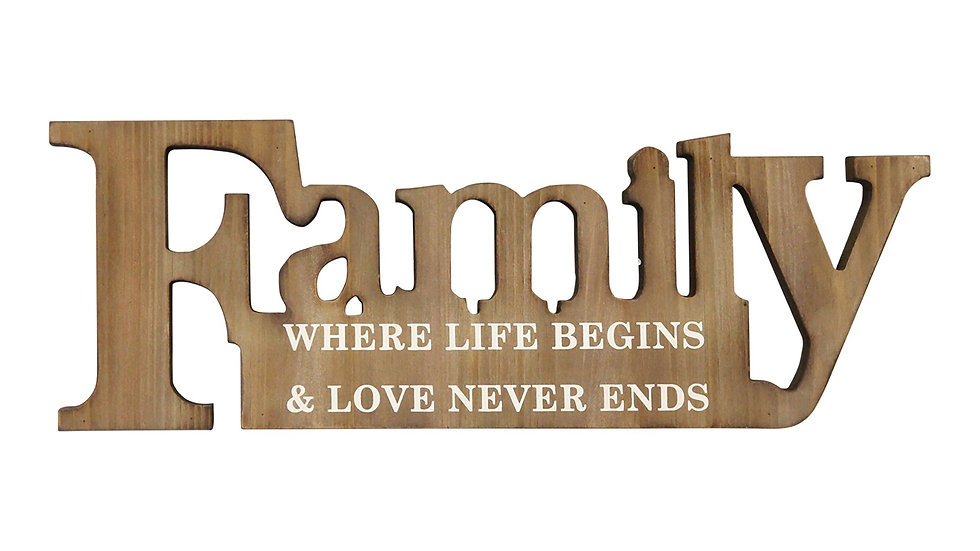 """""""Family"""" Natural Wood Mdf Wall Décor"""