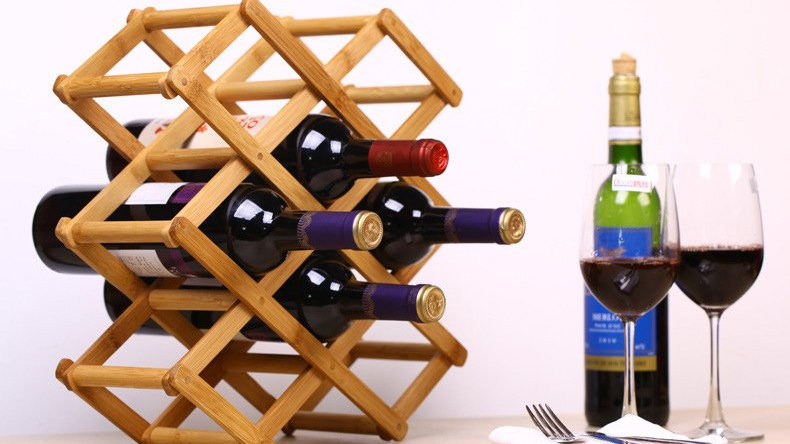 Foldable Bamboo Wine Bottle Holder