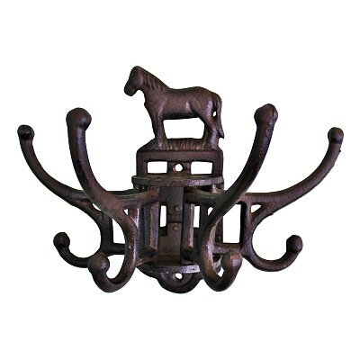 Cast Iron Wall Mounted Rotating Coat Hooks, Horse - 8 hooks