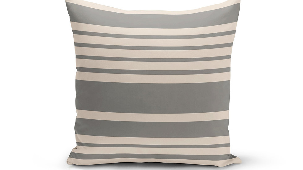 Grey Cream Stripes Pillow Cover