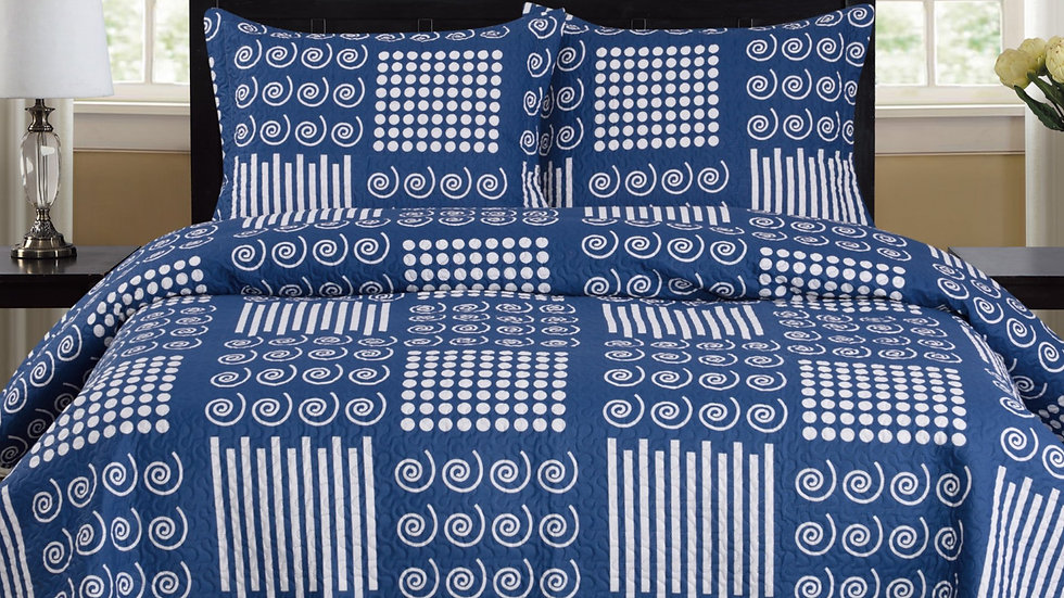 Nikki - 3 Piece Quilt Set - Navy