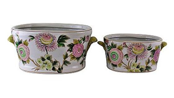 Set of 2 Ceramic Footbath Planters