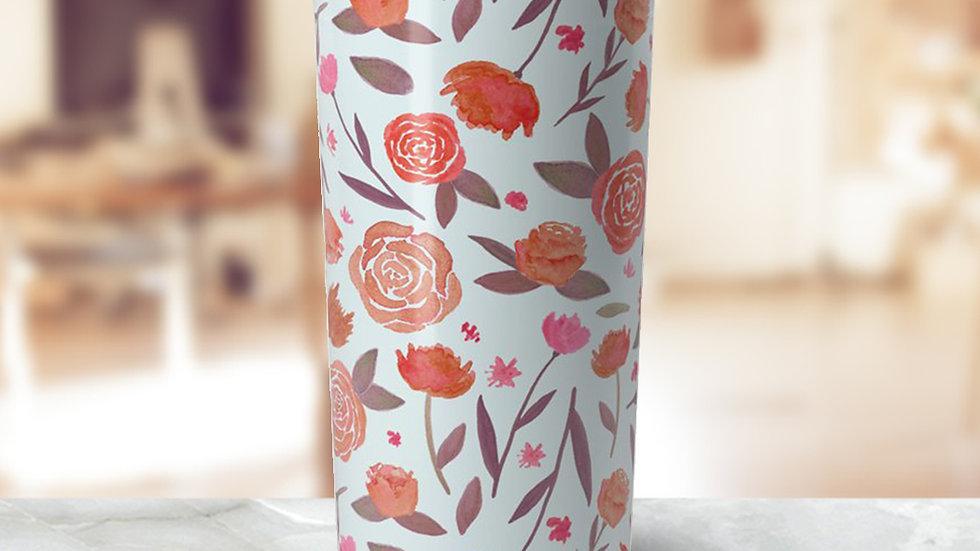 Red Floral Travel Coffee Mug