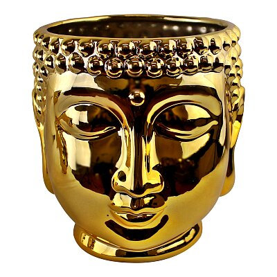 Gold Ceramic Buddha Head Planter,