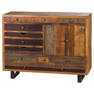 Multi Draw Reclaimed Industrial Chest With Brass Handle