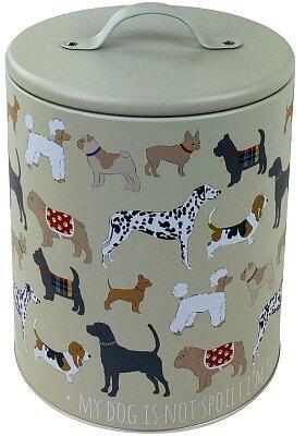 Dog Print Pet food Storage Tin - 22cm