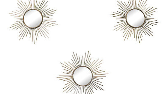 Set of 3 Gold Metal Sunburst Accent Mirrors