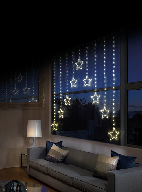 Star Curtain - Window Light with Warm LED Lights by Premier Pinwire 1.2 x1.2m