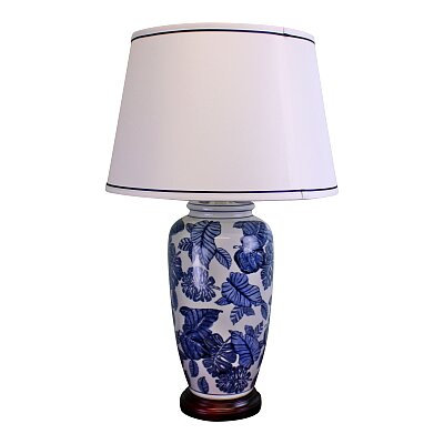 Blue & White Ceramic Lamp with Wooden Base - 70cm