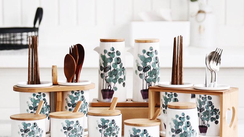 Nordic green plant home ceramic seasoning jar Chopsticks storage oil