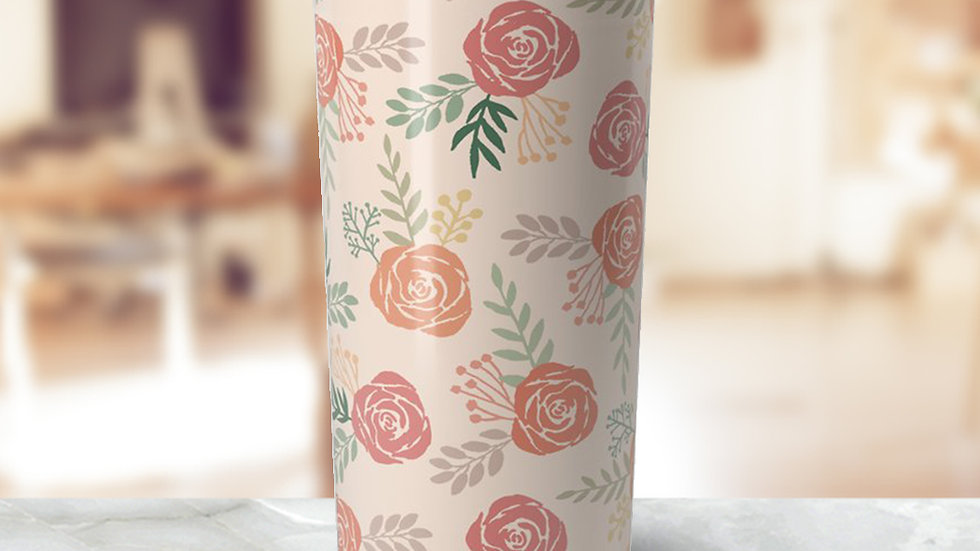 Warm Floral Travel Coffee Mug