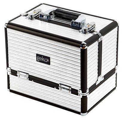 Geko Vanity Case / Makeup Box Box - Black & Silver
