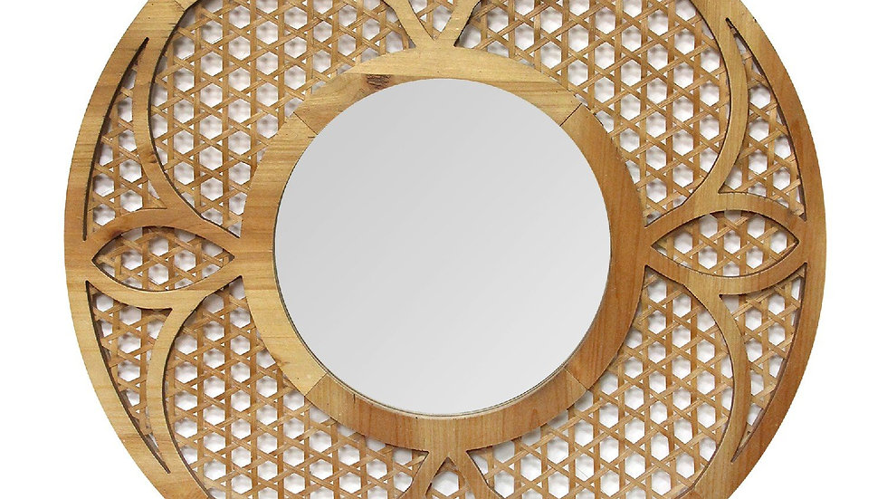 "28"" X 1.25"" X 28"" Dark Honey Mdf Mirror Bamboo Lattice Mirror"