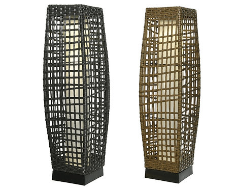 LED Solar Brown Wicker Lantern - 68cm