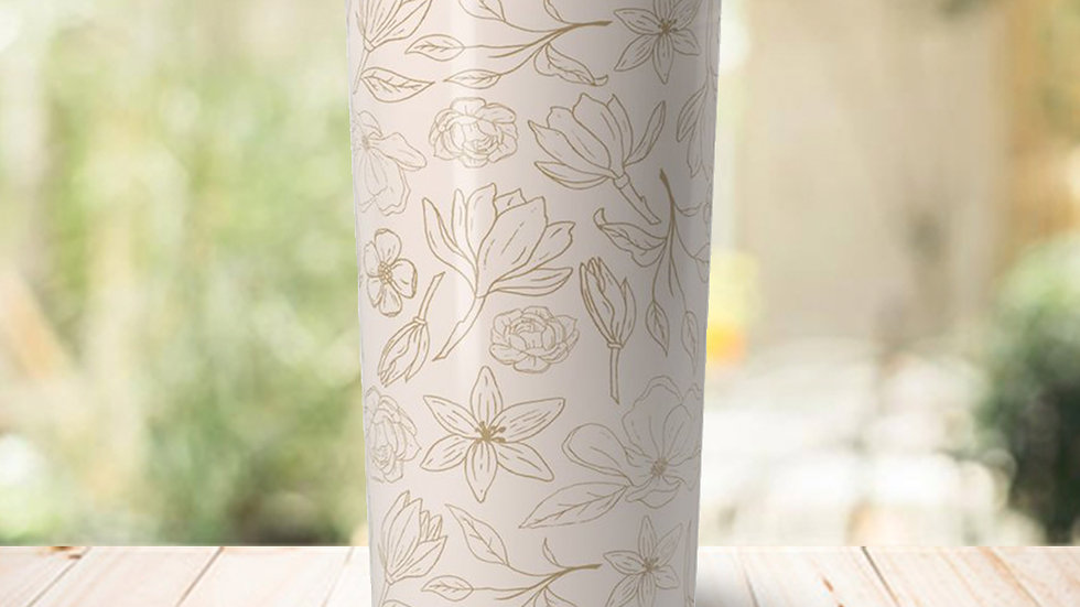 Gold Magnolia Travel Coffee Mug