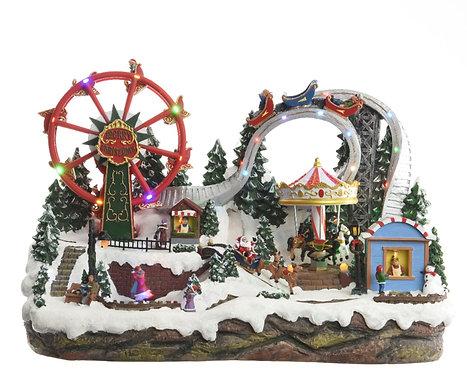 LED musical Christmas Fairground winter scene piece