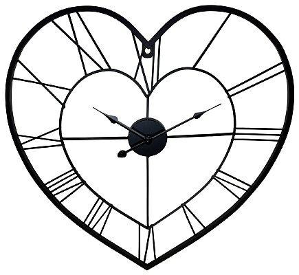 Black Metal Skeleton Love Heart Clock  - 58cm