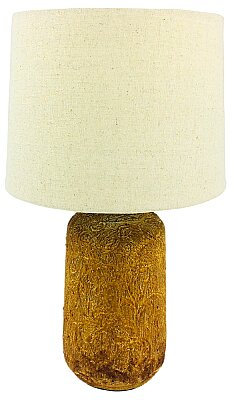 Golden Brown Distressed Lamp And Shade - 38cm