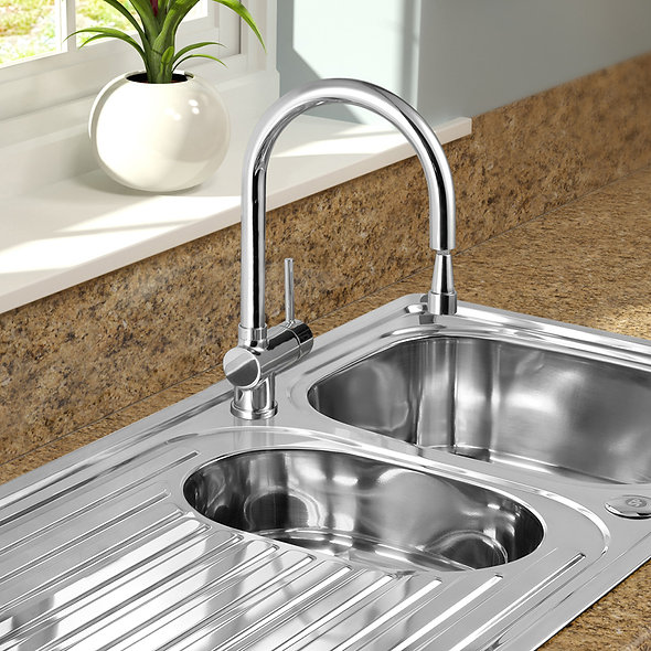 SP Drake Pull Out Mono Mixer Sink Tap in use