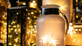 Frosted Glass Lantern with Rope Detail and Interior LED