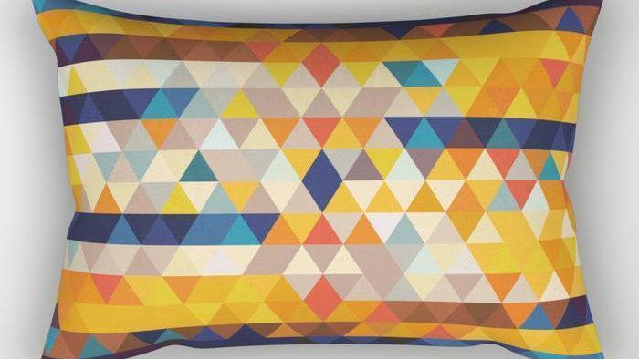 Orange & Blue Triangles Rectangle Pillow