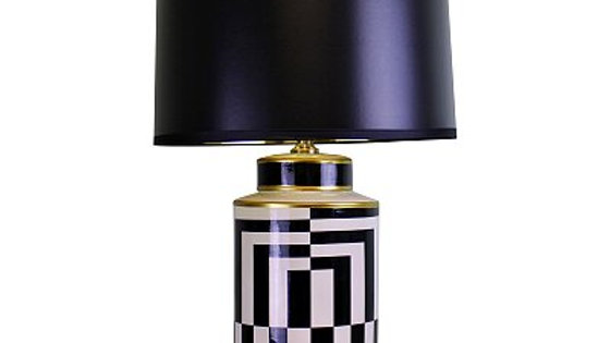 Black/White/Gold Ceramic Lamp, Geometric Design