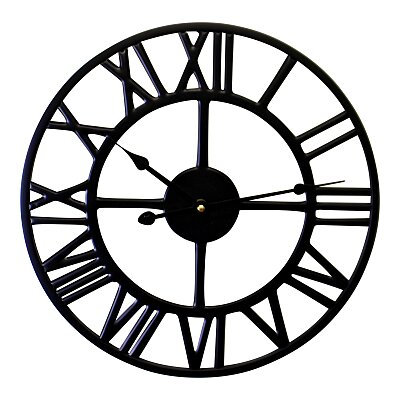 Black Metal Roman Numeral Wall Clock  - 39cm