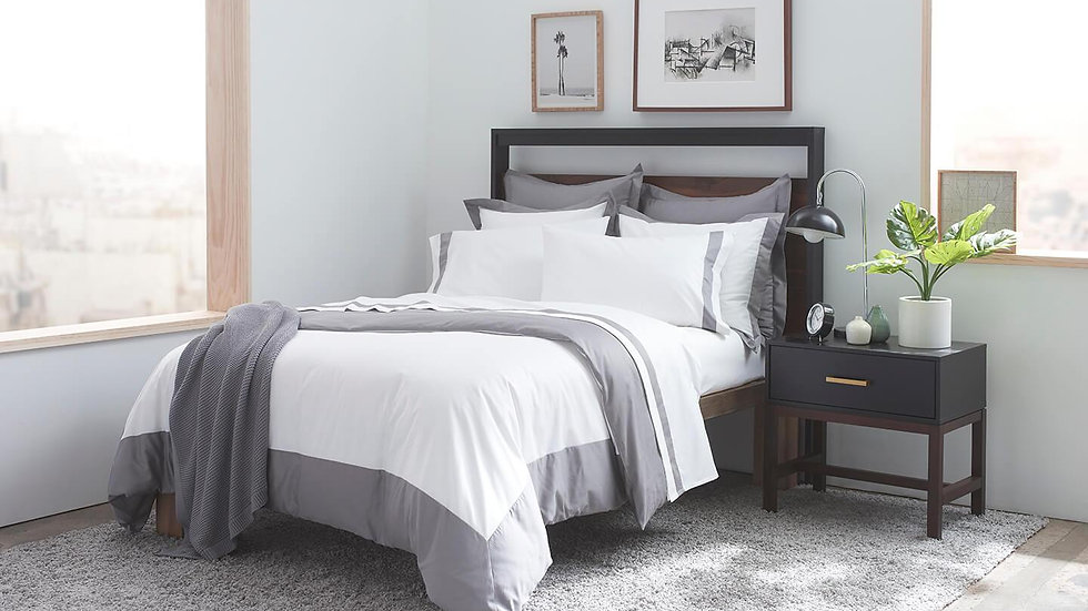 100% Supima Cotton, 500 Thread Count Sateen Banded Hotel Duvet Set