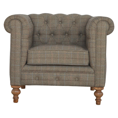 Multi Tweed Single Seater Chesterfield Armchair