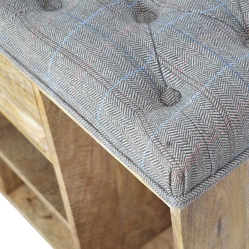Multi Tweed 4 Slot Shoe Storage Bench
