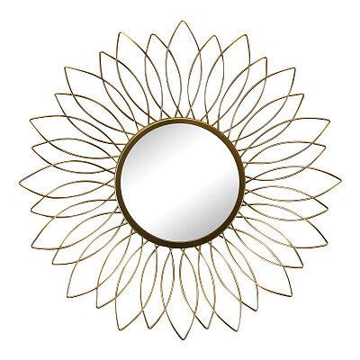 Gold Wire Flower Design Accent Mirror