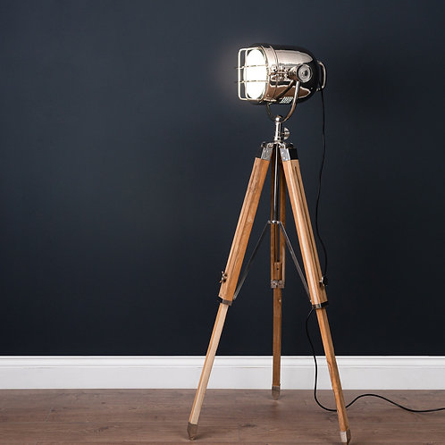 Nickel Industrial Spotlight Tripod Lamp lifestyle photo