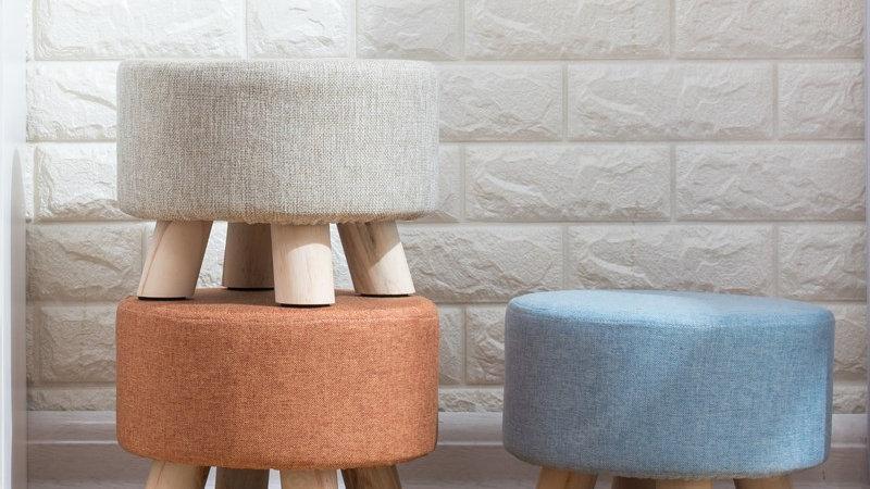 Nordic Round Fabric Stool Wooden Leg Pattern Modern Fashion Wood Small
