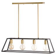 Black And Brass Four Bulb Framed Light - adjustable hanging height