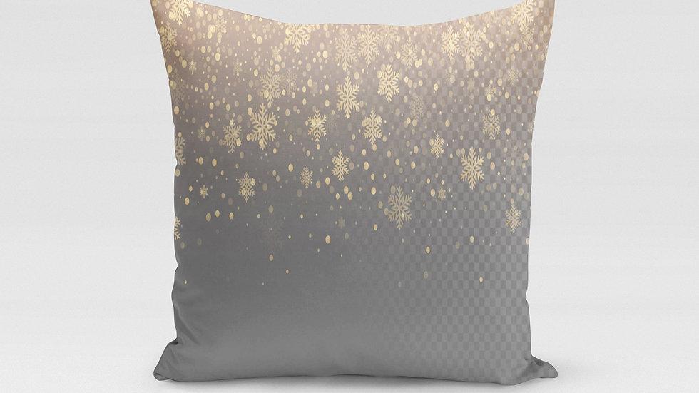 Snowflake Golden Pillow Cover