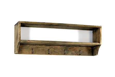 Wooden Wall Shelf with 4 Hooks