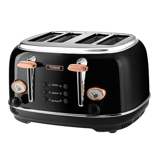 Tower Stainless Steel Black & Rose Gold Collection Toasters and Kettle