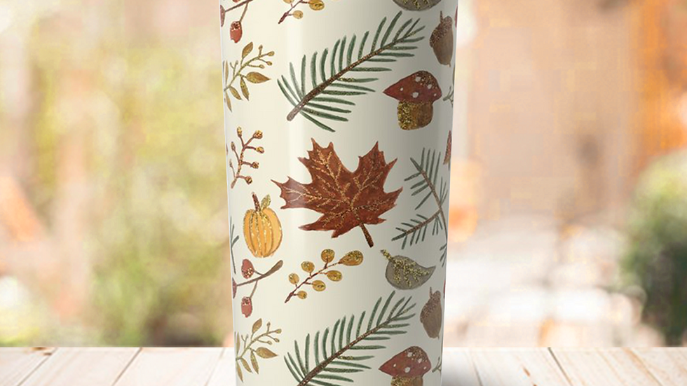 Glitter Leaf Travel Coffee Mug
