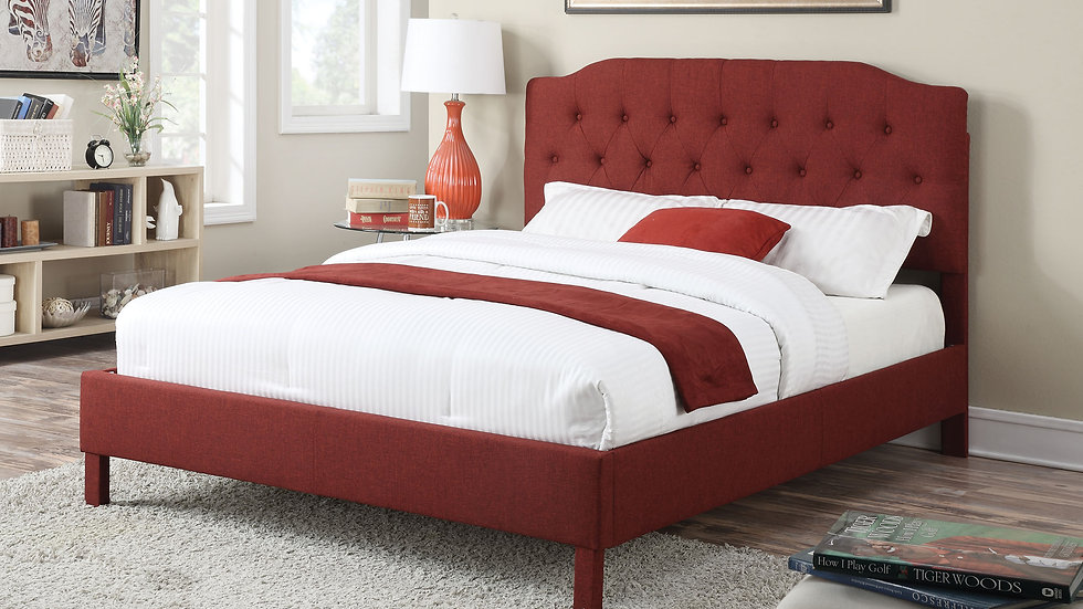 "92"" X 79"" X 53"" King Red Linen Bed"